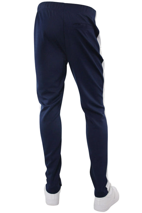 Premium Side Stripe Zip Pocket Track Pants Navy - White (ZCM4418Z) - Zamage