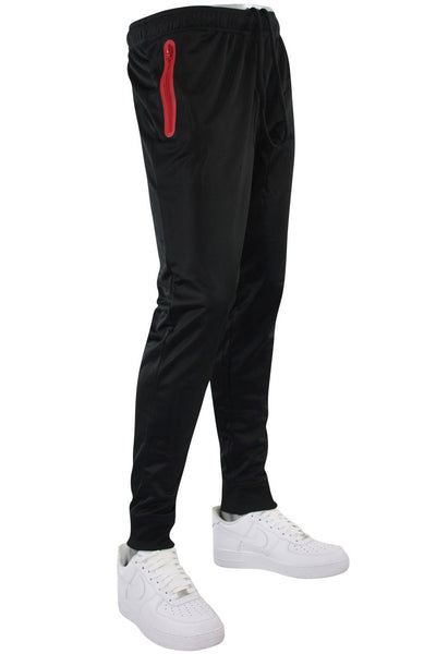 Tricot Solid Zip Pants Black - Red (GN912PAN 22S)