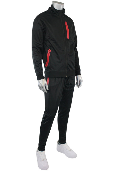 Tricot Zip Full Set Suit Black - Red (GN912 22S)