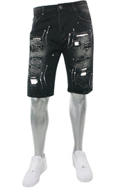 Paint Splatter Denim Shorts Black Wash (M7229D) - Zamage