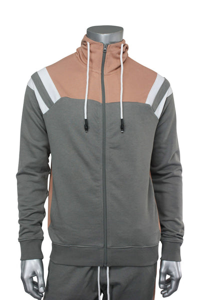 Jordan Craig Striped Color Block Hoodie Mahogany Rose (8337H 22S)