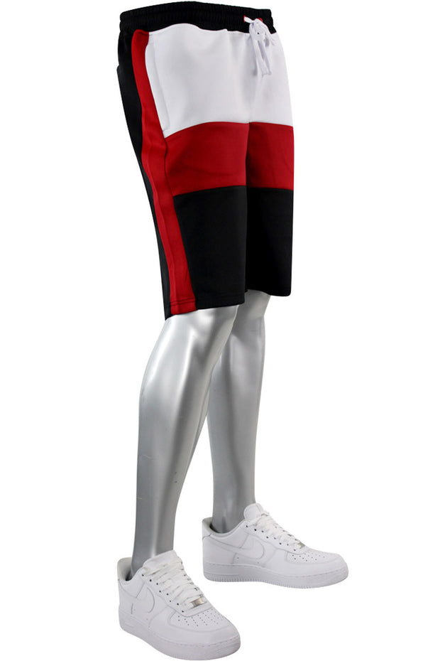 Colorblock Track Shorts Black - Red (1A1-901)