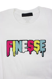 Finesse Chenille Tee White (P19-8688) - Zamage