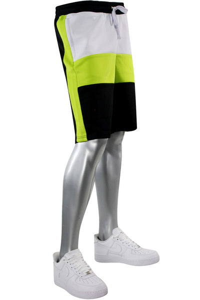 Colorblock Track Shorts Black - Lime (1A1-901)