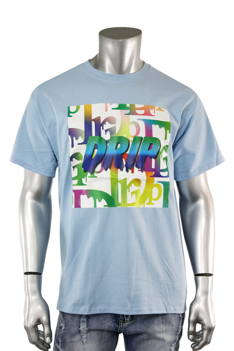 Gradation Drip Multi Color Tee Teal (5013)