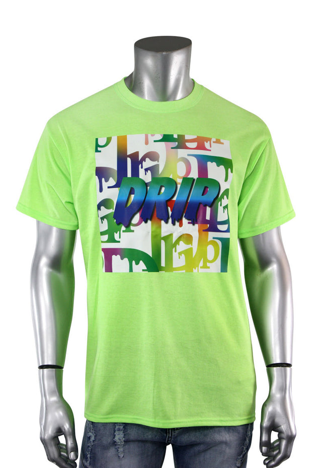 Gradation Drip Multi Color Tee Lime (5013)