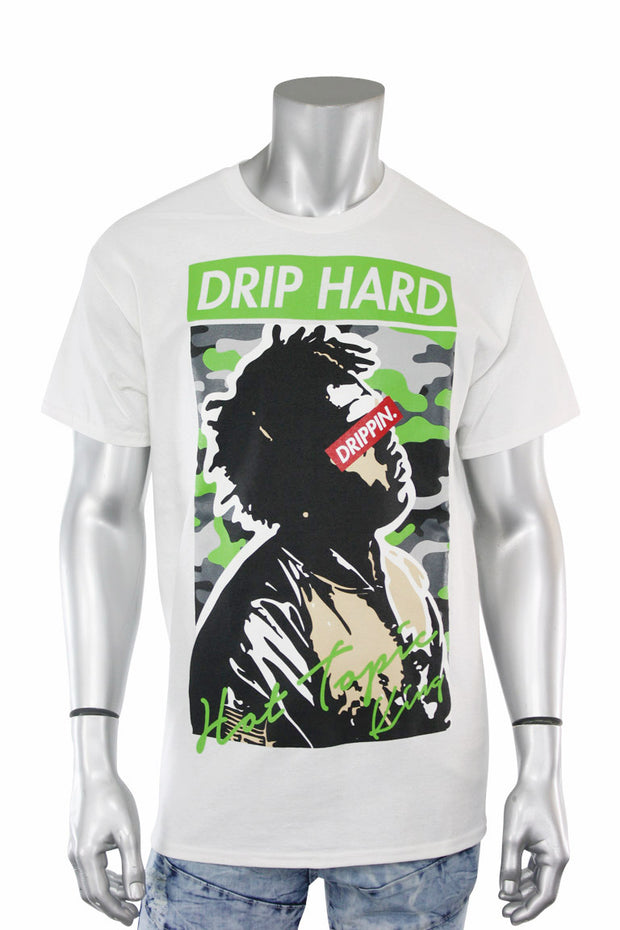 Drip Hard Tee White (9073) - Zamage