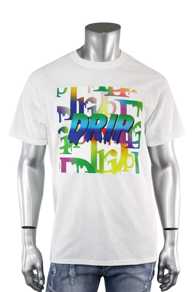 Gradation Drip Multi Color Tee White (5013)