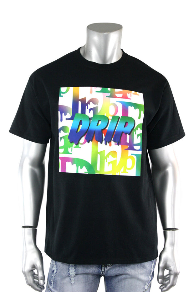 Gradation Drip Multi Color Tee Black (5013)