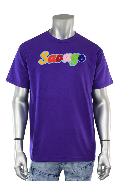 Savage Chenille Tee Purple (P19-1001) - Zamage