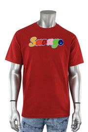 Savage Chenille Tee Red (P19-1001) - Zamage