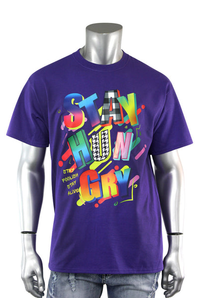 Stay Hungry Multi Color Tee Purple (5010)