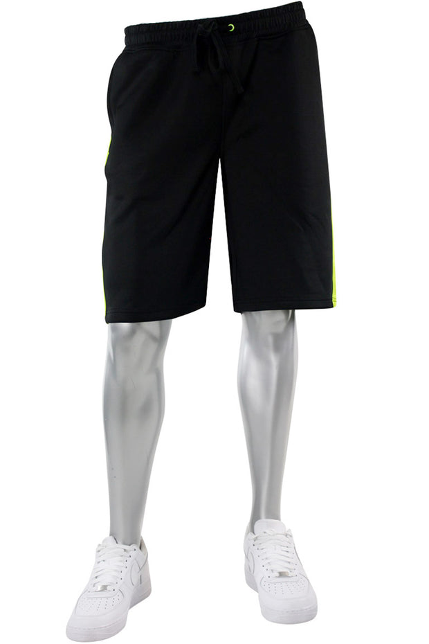 Side Stripe Track Shorts Black - Lime (1A1-900)