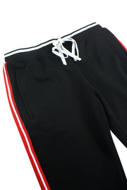 Premium Triple Stripe Track Pants Black - Red (ZCM4841)