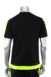 Layered Colorblock Tee Black - Lime (1A1-110)
