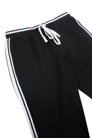 Premium Triple Stripe Track Pants Black - White (ZCM4841)