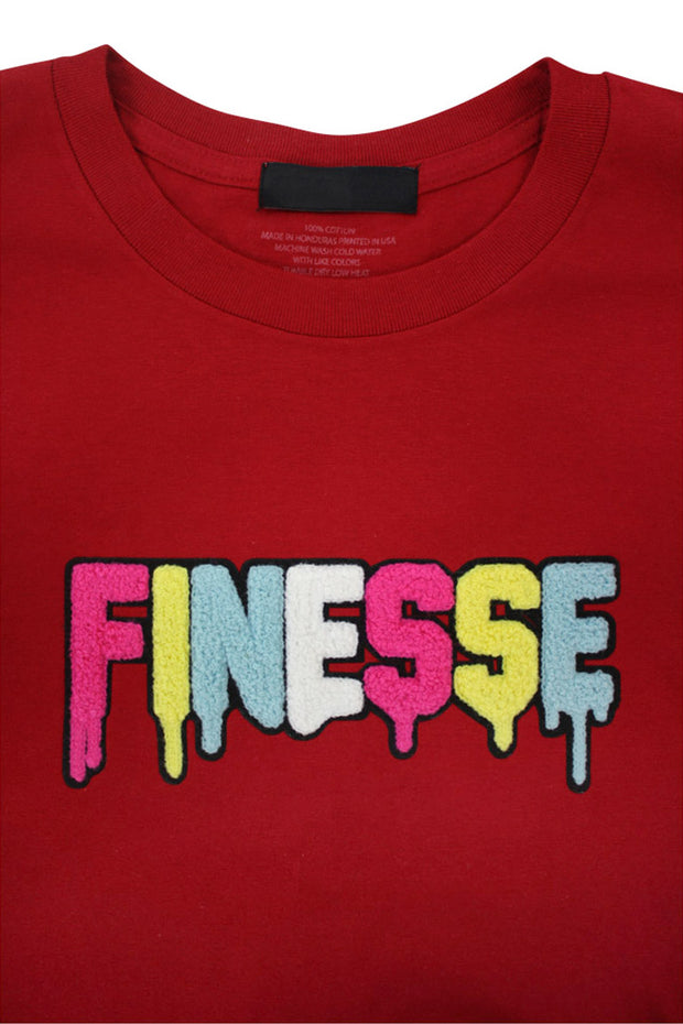 Finesse Chenille Tee Red (P19-8688) - Zamage