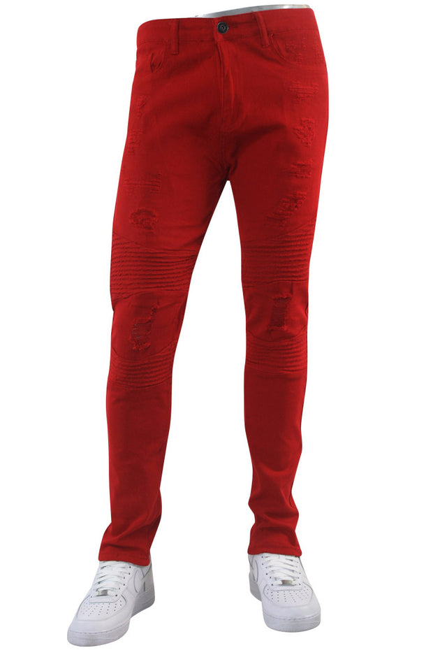 Ripped & Zipped Moto Skinny Fit Denim Red (M4388TC)