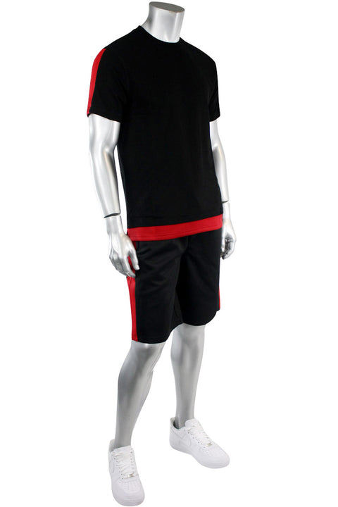 Side Stripe Track Shorts Black - Red (1A1-900)