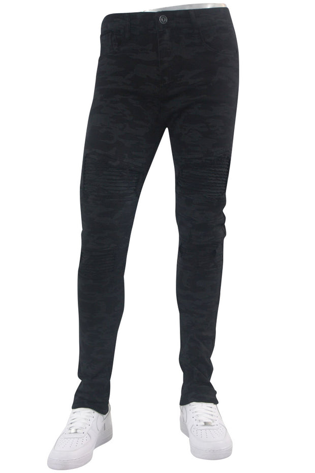 Moto Pocket Skinny Fit Denim Black Camo (VIM4433T)