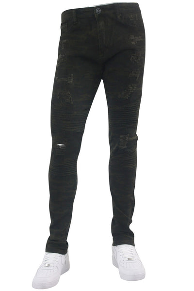 Ripped & Zipped Moto Skinny Fit Denim Camo (M4388TC)