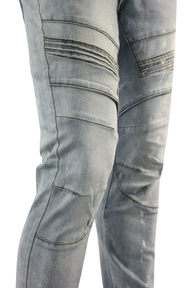 Moto Knee Skinny Fit Denim Antique Bleach (BOM4652D) - Zamage