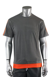 Reflective Taping Layered Tee Grey (1A1-111)