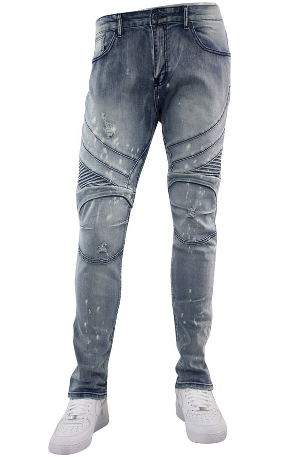 Moto Ribbed Skinny Fit Denim Light Bleach (M4812D) - Zamage