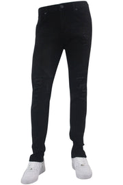 Destroyed Moto Pieced Skinny Fit Denim Black Wash (BOM4716D)