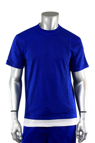 Reflective Taping Layered Tee Royal Blue (1A1-111)