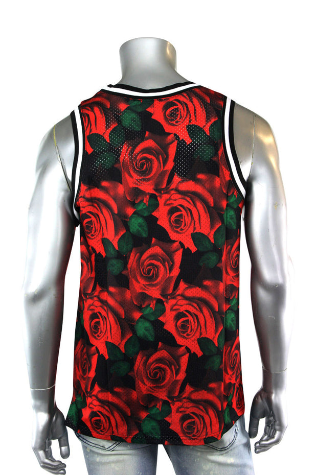 Rose Print Mesh Tank Top Black (1A1-121)