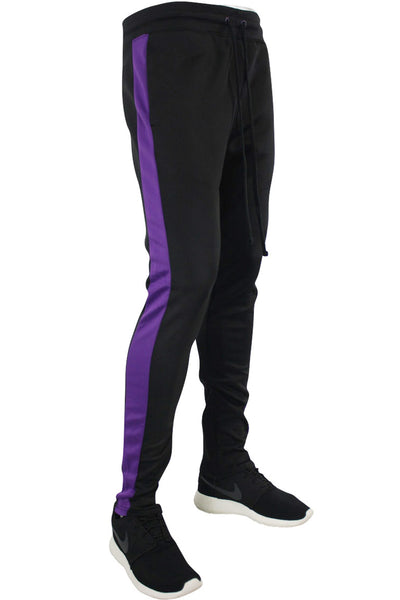 Side Stripe Track Pants Black - Purple (1914)