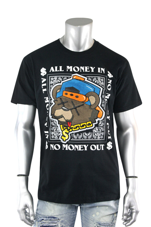 All Money In Chenille Bear Tee Black (2135CN)