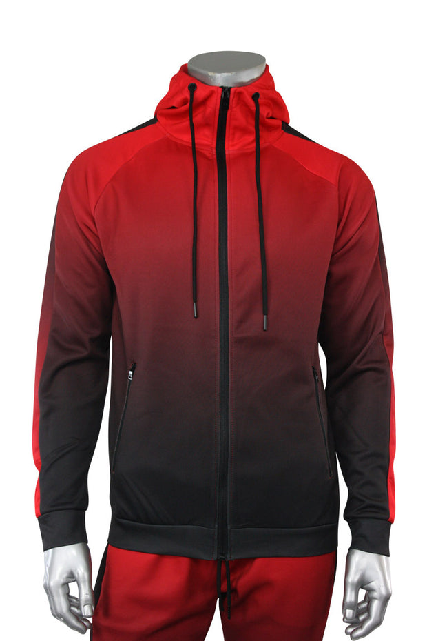 Dip Dye Full-Zip Hoodie Red (192-571) - Zamage