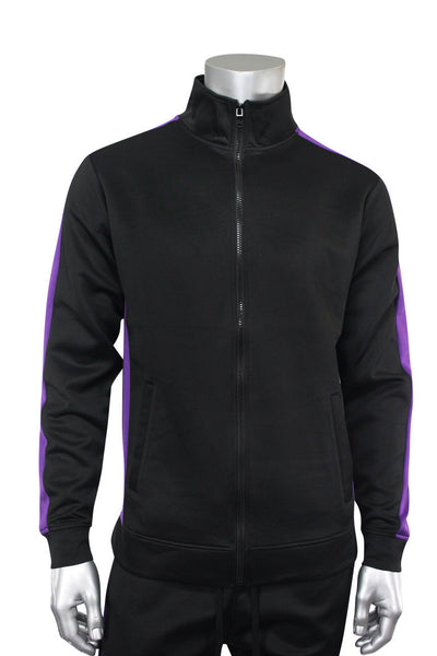 Side Stripe Track Jacket Black - Purple (1915) - Zamage
