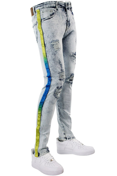 Side Stripe Track Denim Snow Wash - Yellow - Blue (DZM4678D)