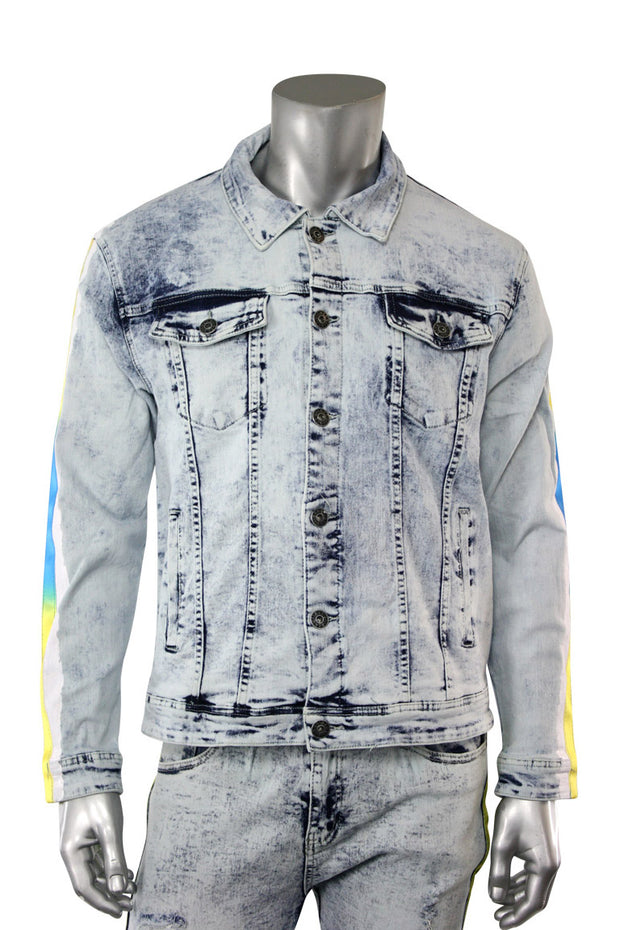Side Stripe Denim Track Jacket Snow Wash - Yellow - Blue (DZM6098D)