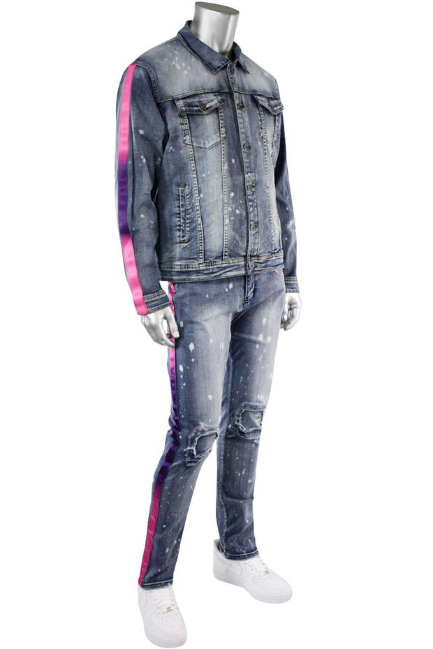 Dip Dye Skinny Fit Track Denim Bleach Splatter - Purple (M4818D)