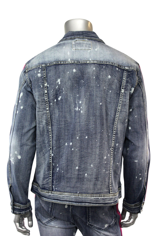 Dip Dye Denim Track Jacket Bleach Splatter - Purple (M6098D)