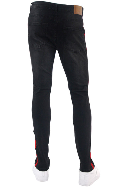 Side Stripe Paint Splatter Skinny Fit Denim Black - Red (M4825DA)