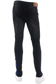 Side Stripe Paint Splatter Skinny Fit Denim Black - Blue (M4825DA)