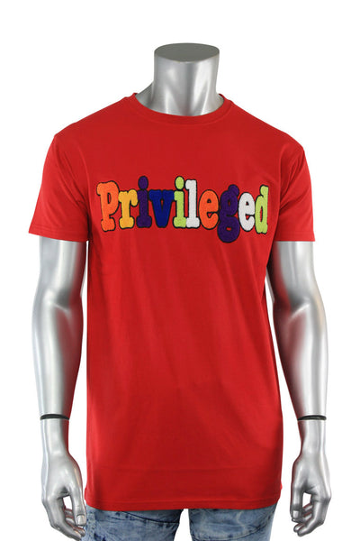 Embroidered Chenille Privileged Tee Red (TP966) - Zamage