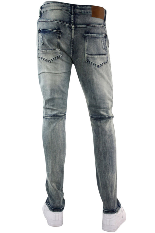 Moto Ripped Skinny Fit Denim Vintage Wash (BUM4208D)