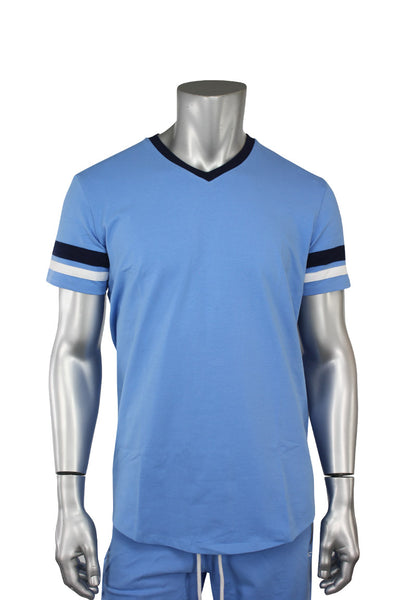 Striped Elong Tee Carolina Blue (8970V)