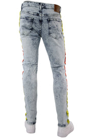 Side Stripe Track Denim Snow Wash - Yellow - Orange (DZM4678D)
