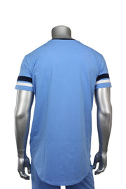 Jordan Craig Striped Elong Tee Carolina Blue (8970V) - Zamage