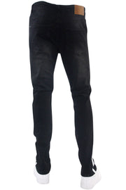 Side Stripe Paint Splatter Skinny Fit Denim Black - White (M4825DA)