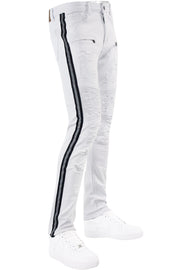 Reflective Side Tape Skinny Fit Denim White - Black (M4874R1T)