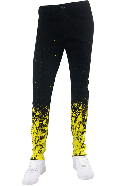 Paint Splatter Skinny Fit Denim Black Wash - Yellow (M4985DA) - Zamage