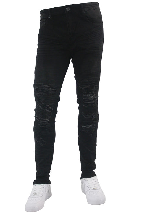 Ripped Skinny Fit Denim Black Wash (M5014D) - Zamage